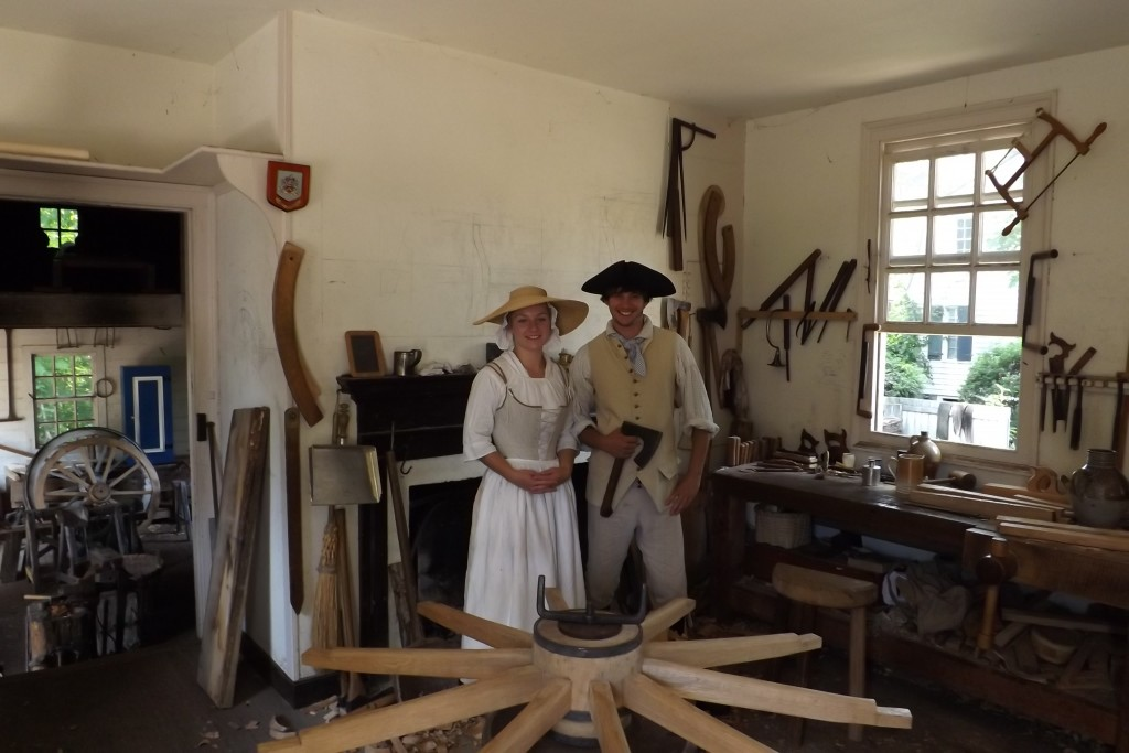 Phill and Emily Gregson wheelwrights at colonial williamsburg, virginia, usa