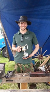 Master Wheelwright Phill Gregson winning The Wellman Trophy at the Royal Cheshire show 2015