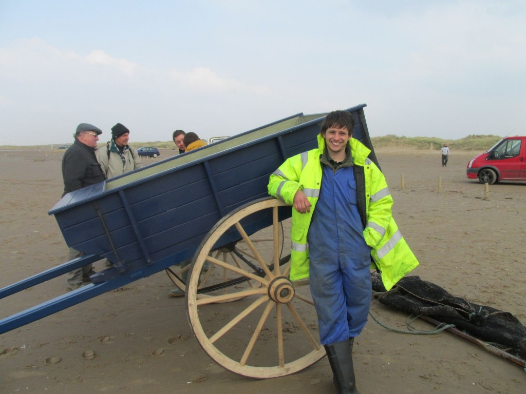 Phill Gregson Master Wheelwright on southpirt beach with BBC Countryfile tv
