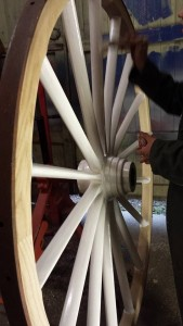 Painting wooden wheels