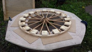 Velocipede wheel fixed on the hooping plate.