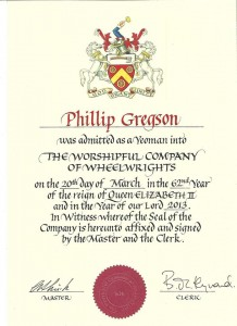 Yeoman of the Worshipful company of Wheelwrights
